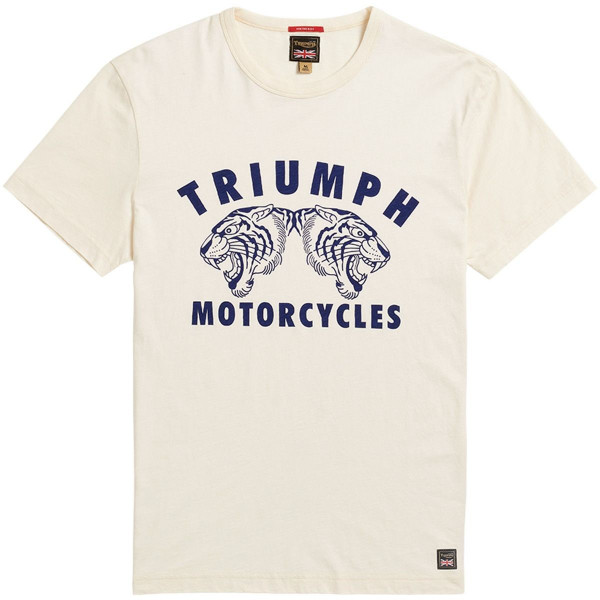 LTSS21105 Triumph Motorcycles Stretton Tee - Bone-Indigo