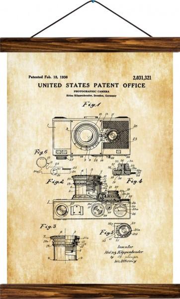 Vintage Lehrtafel  - Camera patent - Vintage Brown