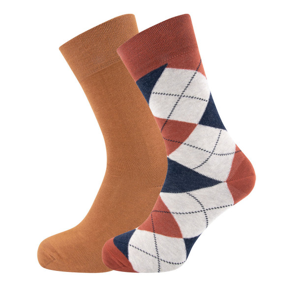 701026-0001 Ewers - Socken 2er Pack GOTS - KUPFER-TOFFEE