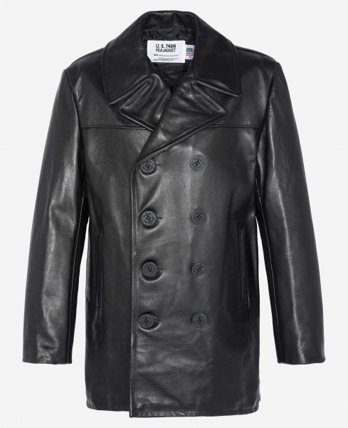 Schott NYC Leather Peacoat 740N - schwarz