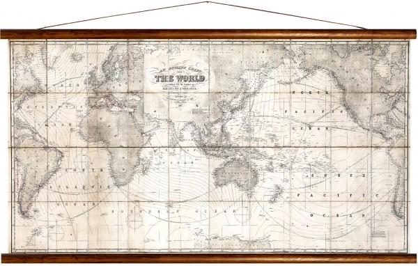 Vintage Lehrtafel  - Outline chart of the world