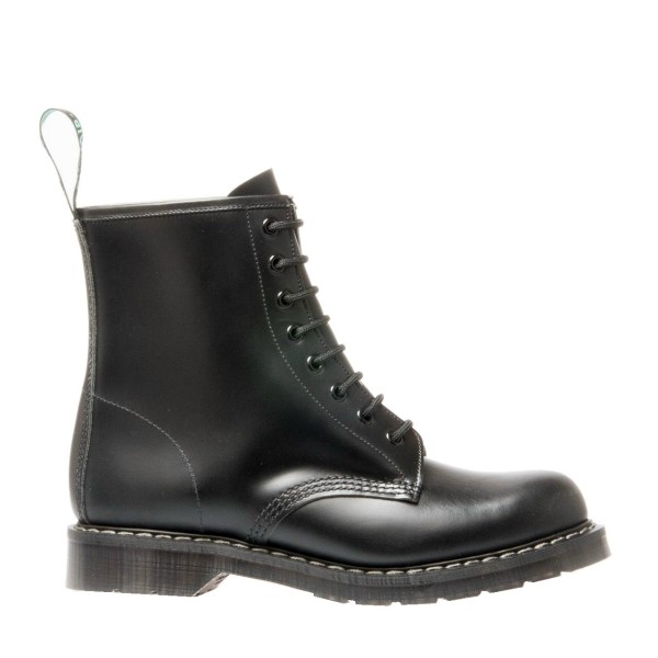 Solovair 8 Eye Derby Boot - Black Hi Shine