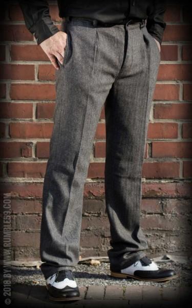 Rumble59 Vintage Slim Fit Pants Pasadena - Fischgrat grau/schwarz