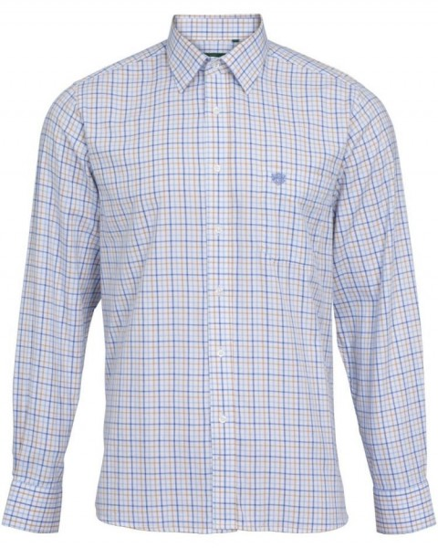 Alan Paine Aylesbury Herrenhemd Langarm - blau/beige