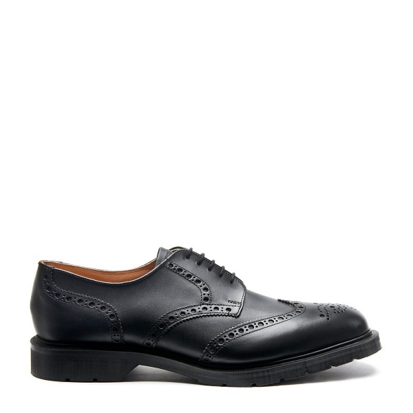 Solovair 5 Eye Gibson Brogue Shoe  - Black waxy