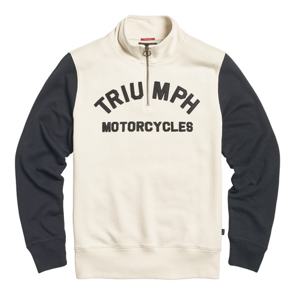 LSWA2120 Triumph Motorcycles Ribble Half Zip Logo Sweatshirt - BONE