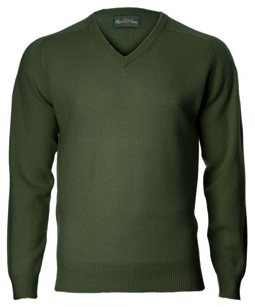 Alan Paine Kilsyth Lambswool-Pullover V-neck - rosemary