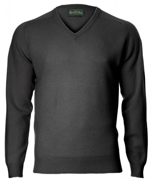 Alan Paine Kilsyth Lambswool-Pullover mit V-Ausschnitt - charcoal