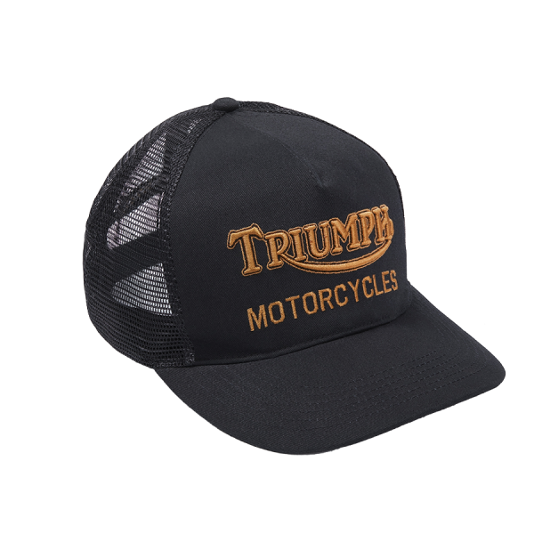 Triumph Motorcycle Oil Trucker Heritage logo Cap Black/Gold