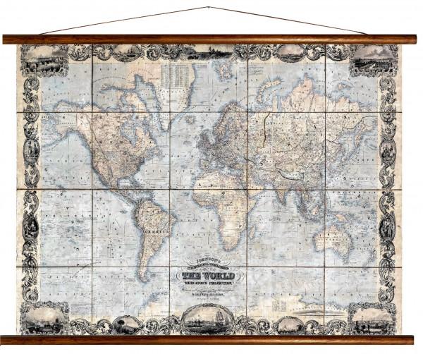 Vintage Lehrtafel  - The World, Mercators Projection