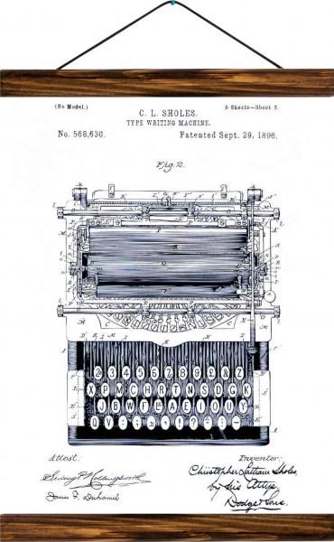 Vintage Lehrtafel  - Type writing machine patent - White