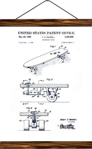 Vintage Lehrtafel  - Skateboard patent - White