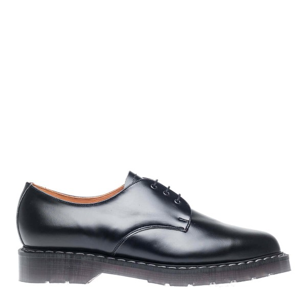 Solovair 3 Eye Gibson Shoe - Black Hi-Shine