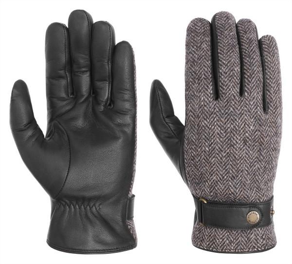 Stetson Handschuhe Ziegen-Nappa / Wolle - Fischgrät sw/grau