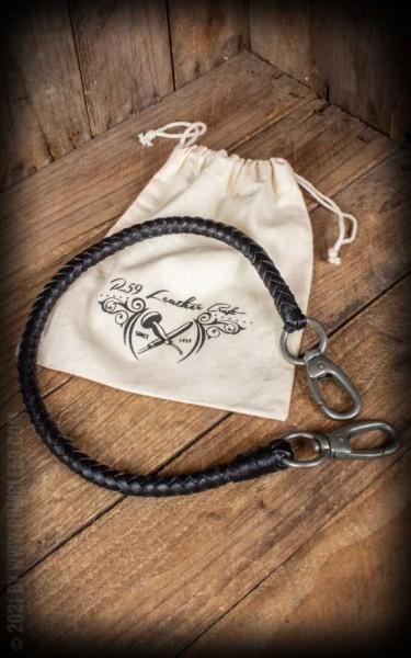 RUM886B Lederkette Leder Wallet Chain, schwarz geflochten