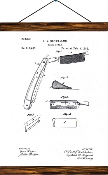Vintage Lehrtafel  - Razor guard patent - Vintage Brown