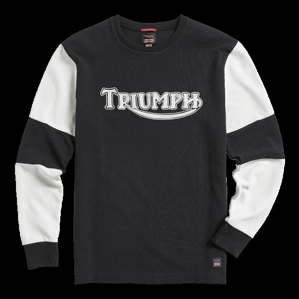 Triumph Motorcycles Imperial Double Pique Long Sleeve - Blk/Wht
