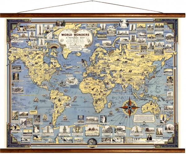 Vintage Lehrtafel  - World wonders