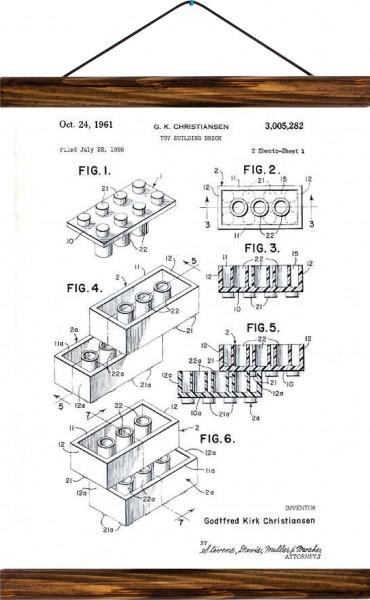 Vintage Lehrtafel  - Lego patent - White
