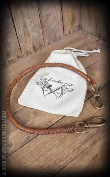 RUM882B_Rumble59 Lederkette Leder Wallet Chain, geflochten