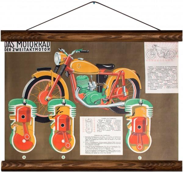 Vintage Lehrtafel - Motorbike and two-stroke engine