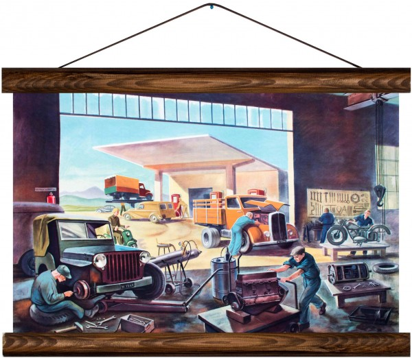 Vintage Lehrtafel  - Mechanics garage