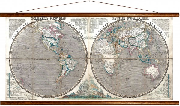 Vintage Lehrtafel  - Gilberts new map of the world, 1839